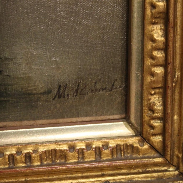 Gilt 19th Century Oil on Canvas French Signed Landscape Painting, 1880 For Sale