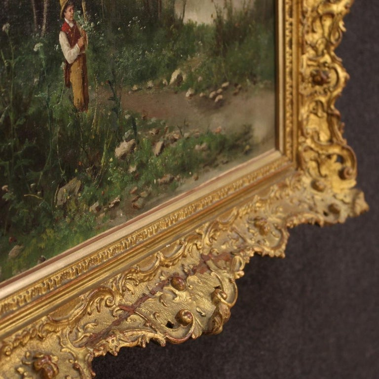 19th Century Oil on Canvas French Signed Landscape Painting, 1880 For Sale 1