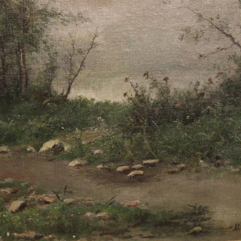 19th Century Oil on Canvas French Signed Landscape Painting, 1880 For Sale 3