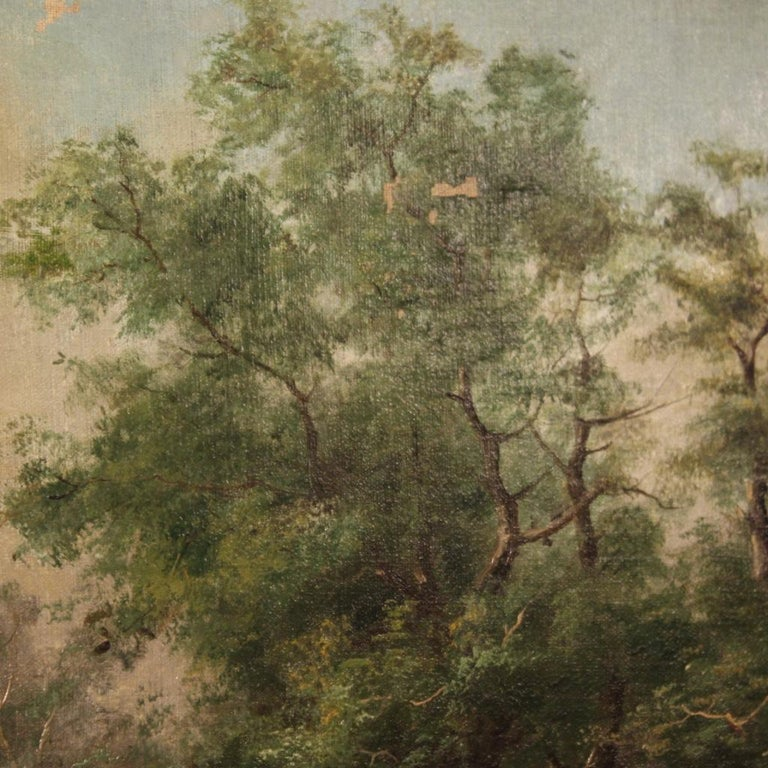 19th Century Oil on Canvas French Signed Landscape Painting, 1880 For Sale 5