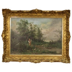 19th Century Oil on Canvas French Signed Landscape Painting, 1880