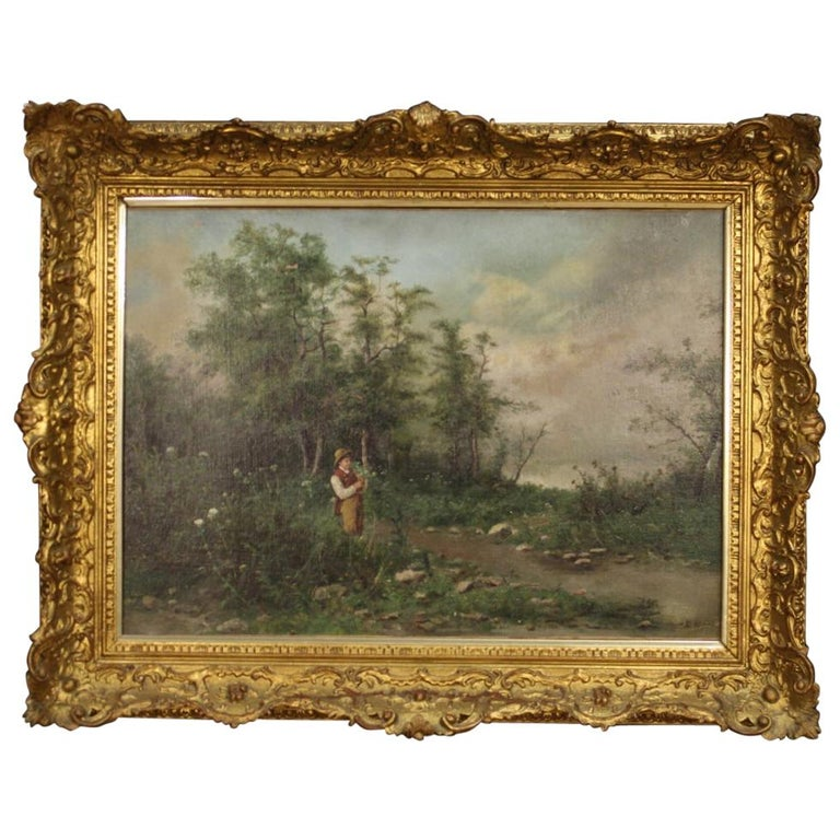 19th Century Oil on Canvas French Signed Landscape Painting, 1880 For Sale