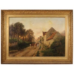 19th Century Oil on Canvas French Signed Landscape Painting, 1899