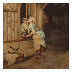 19th Century Oil on Canvas French Signed Popular Scene Painting, 1894