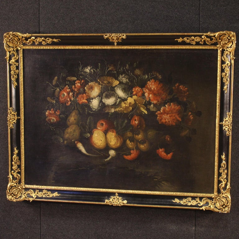 19th Century Oil on Canvas French Still Life Painting, 1880 In Good Condition In Vicoforte, Piedmont