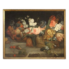 19th Century Oil on Canvas French Still Life Painting Fruit and Flowers, 1870