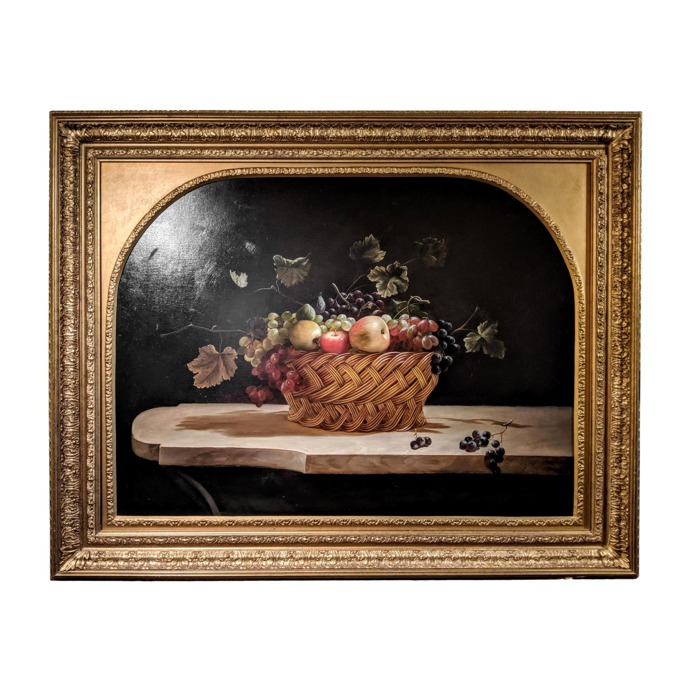 19th Century Oil on Canvas Fruit Still Life, After David Teniers the Younger