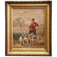 19th Century Oil on Canvas Hunt Painting in Gilt Frame Signed J.J. Veyrassat