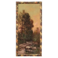 19th Century Oil on Canvas Impressionist Style Italian Painting Landscape, 1890