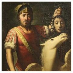 19th Century Oil on Canvas Italian Antique Mythological Painting, 1850