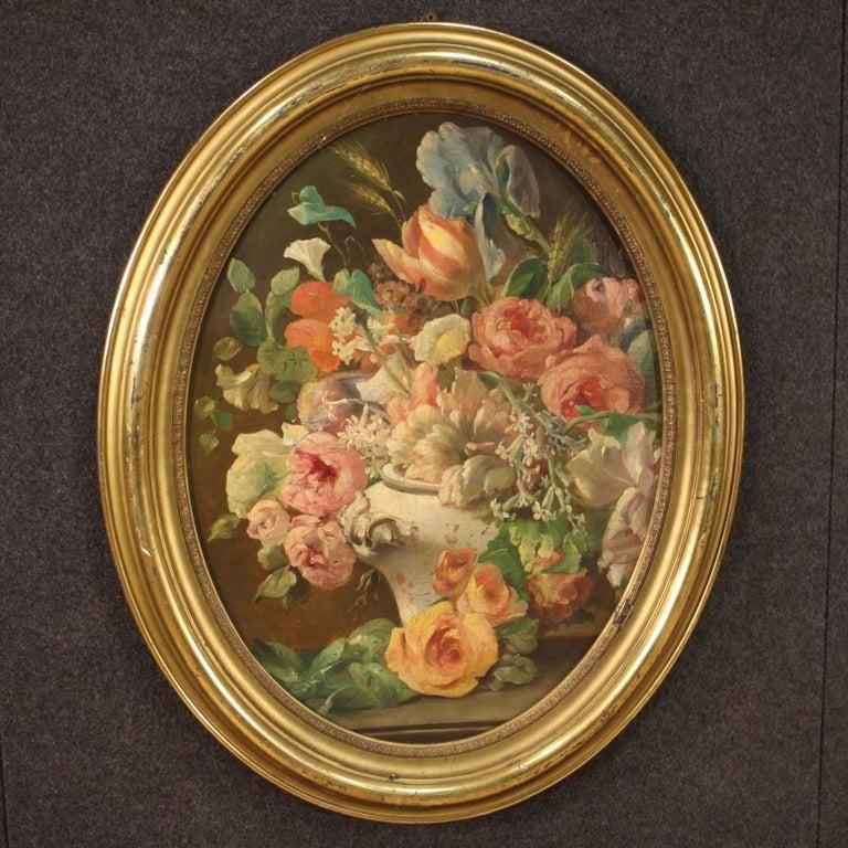 19th Century Oil on Canvas Italian Antique Oval Painting Still Life, 1870 7