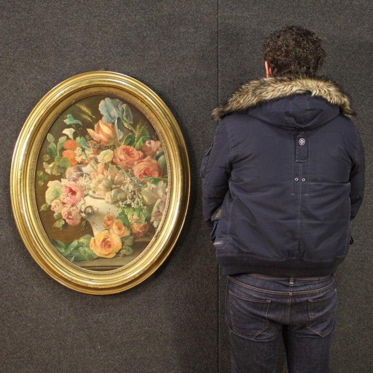 19th Century Oil on Canvas Italian Antique Oval Painting Still Life, 1870 8