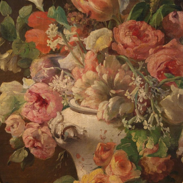 Antique Italian painting from the late 19th century. Oil on canvas framework, glued on masonite (see photo) depicting still life vase with flowers of excellent pictorial quality. Finely chiseled and gilded frame in wood and plaster from 20th century