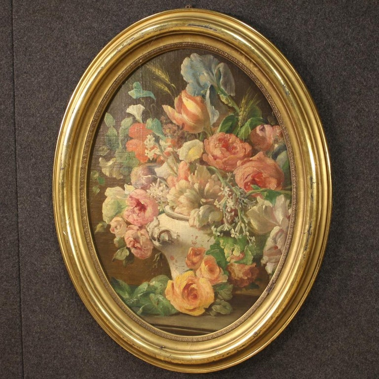 19th Century Oil on Canvas Italian Antique Oval Painting Still Life, 1870 In Good Condition In Vicoforte, Piedmont