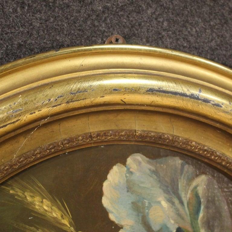 19th Century Oil on Canvas Italian Antique Oval Painting Still Life, 1870 1