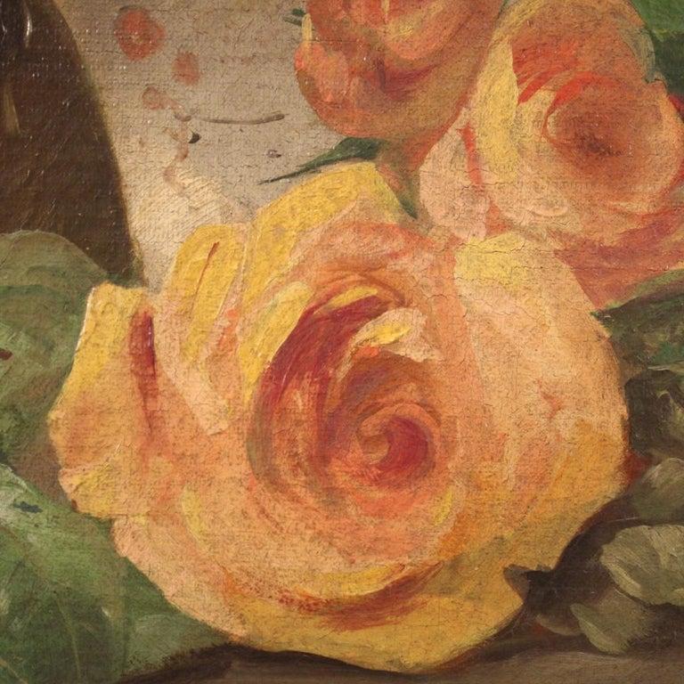 19th Century Oil on Canvas Italian Antique Oval Painting Still Life, 1870 2