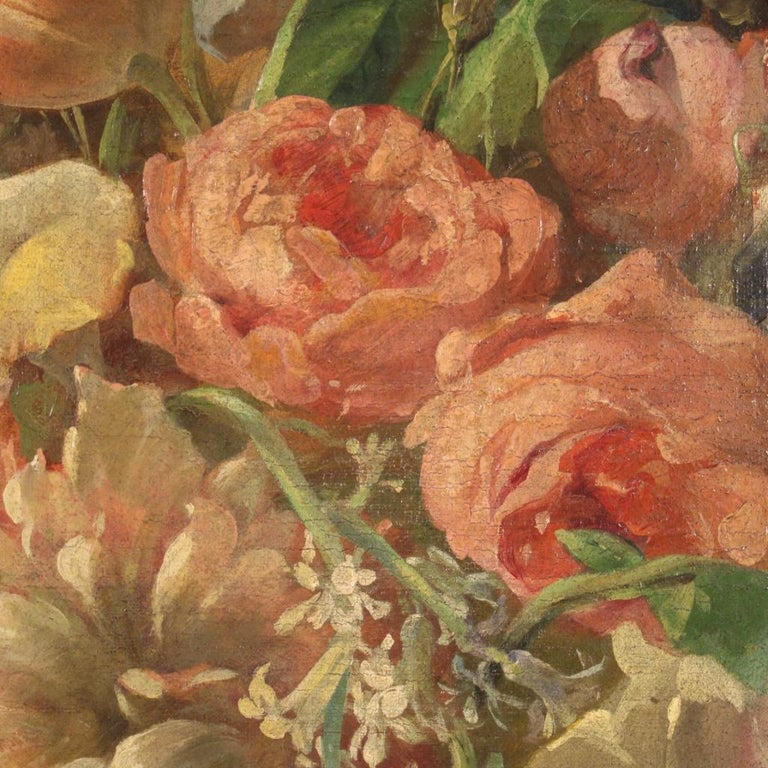 19th Century Oil on Canvas Italian Antique Oval Painting Still Life, 1870 5