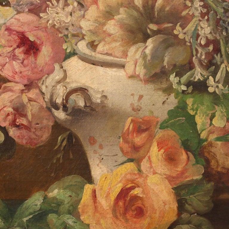 19th Century Oil on Canvas Italian Antique Oval Painting Still Life, 1870 6