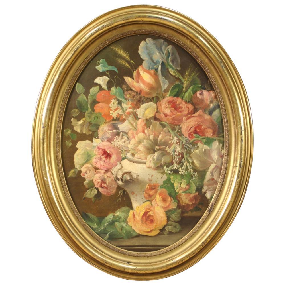 19th Century Oil on Canvas Italian Antique Oval Painting Still Life, 1870