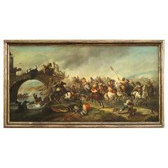 19th Century Oil on Canvas Italian Antique Painting Battle on the Bridge, 1880