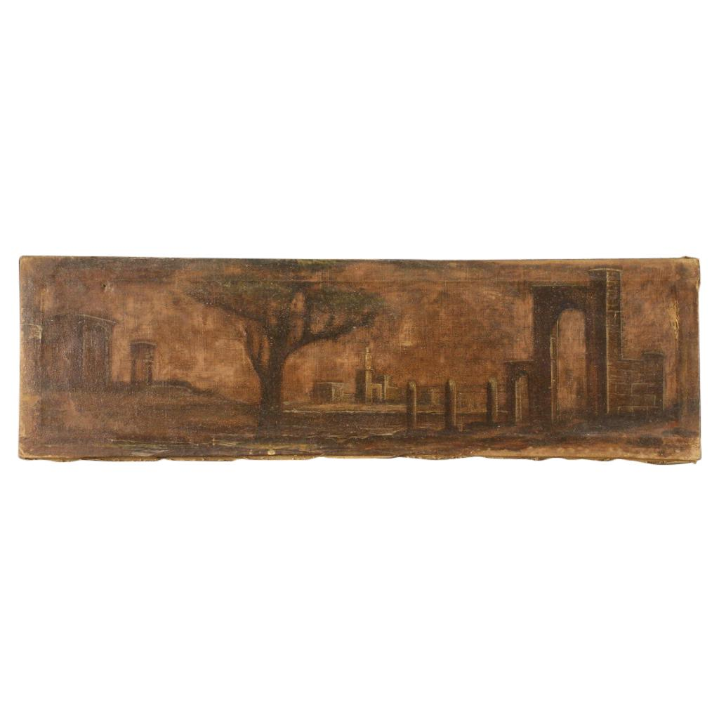 19th Century Oil on Canvas Italian Antique Painting Landscape with Architectures