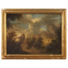 19th Century Oil on Canvas Italian Antique Painting Landscape with Characters