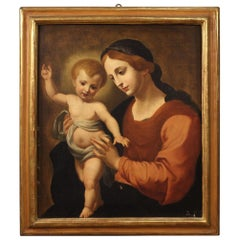 19th Century Oil on Canvas Italian Antique Religious Painting Virgin with Child