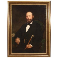 19th Century Oil on Canvas Italian Antique Signed Portrait Painting, 1870