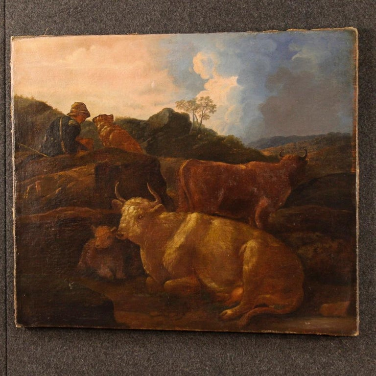 19th Century Oil on Canvas Italian Landscape Painting, 1870 For Sale 7