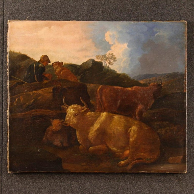 19th Century Oil on Canvas Italian Landscape Painting, 1870 In Fair Condition For Sale In Vicoforte, Piedmont