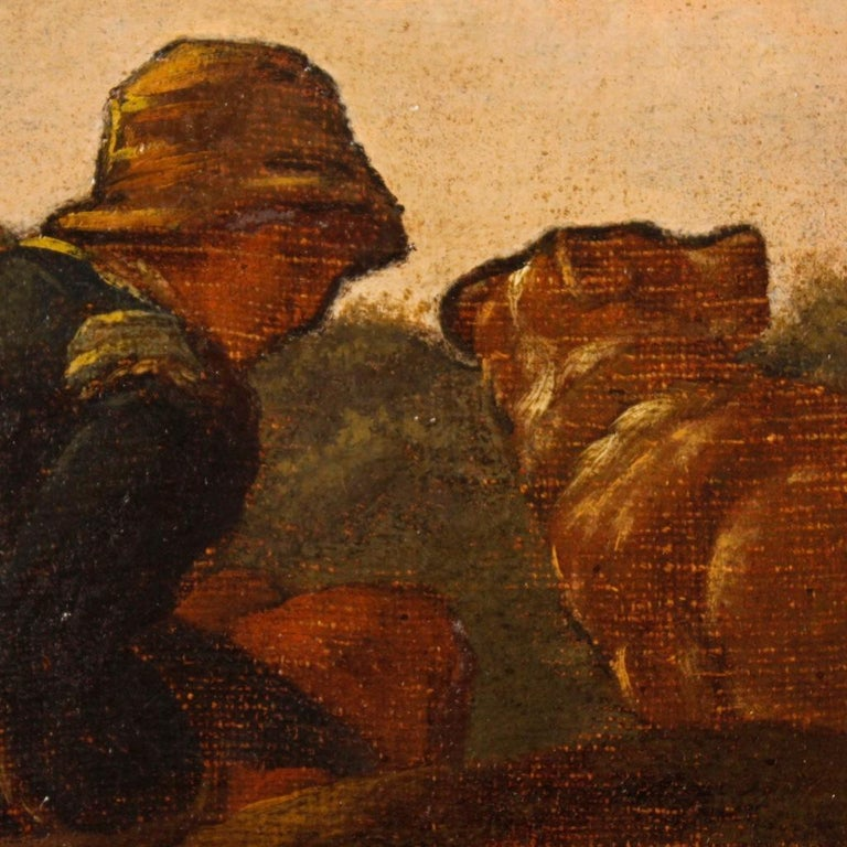 19th Century Oil on Canvas Italian Landscape Painting, 1870 For Sale 5