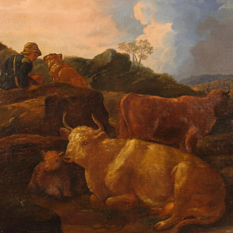 19th Century Oil on Canvas Italian Landscape Painting, 1870 For Sale