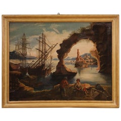 19th Century Oil on Canvas Italian Landscape Seascape Painting, 1820