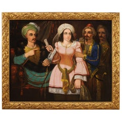 19th Century Oil on Canvas Italian Oriental Scene with Characters Painting, 1870