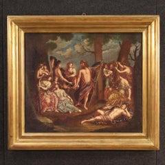 19th Century Oil on Canvas Italian Painting Bacchanal Mythological, 1830