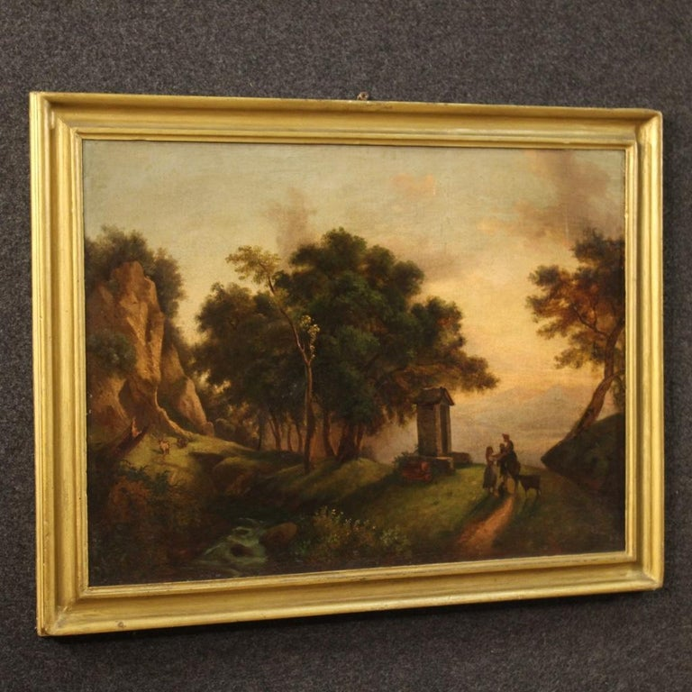 19th Century Oil on Canvas Italian Painting Landscape with Characters, 1870 For Sale 8