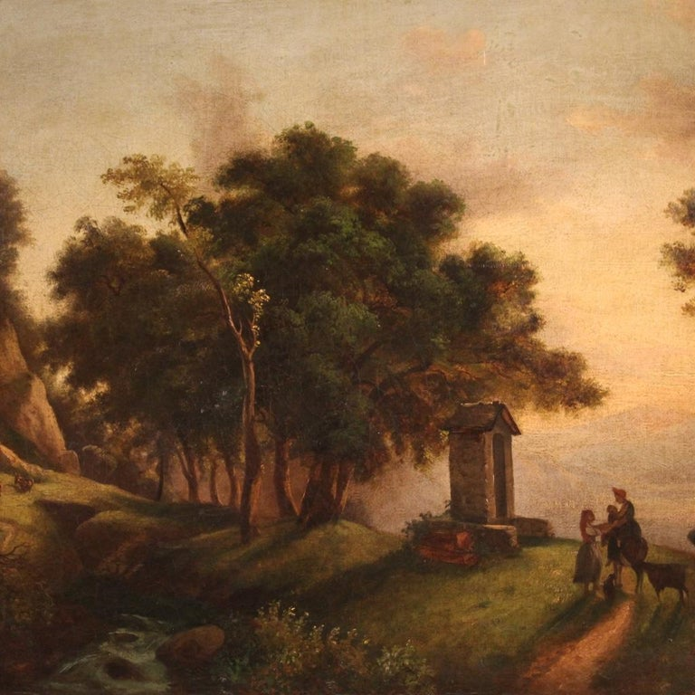 19th Century Oil on Canvas Italian Painting Landscape with Characters, 1870 In Good Condition For Sale In Vicoforte, Piedmont