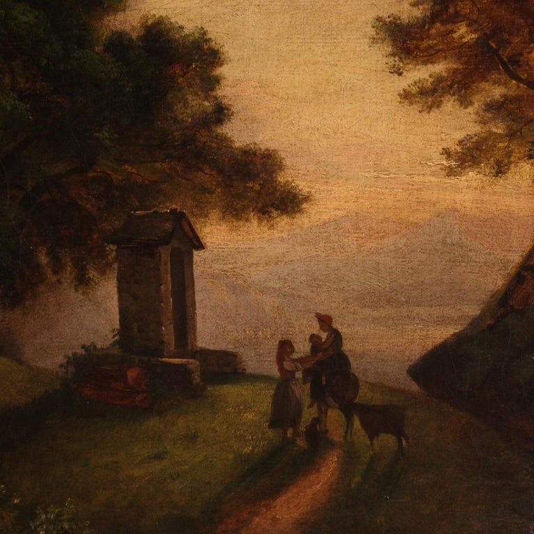 19th Century Oil on Canvas Italian Painting Landscape with Characters, 1870 For Sale 1