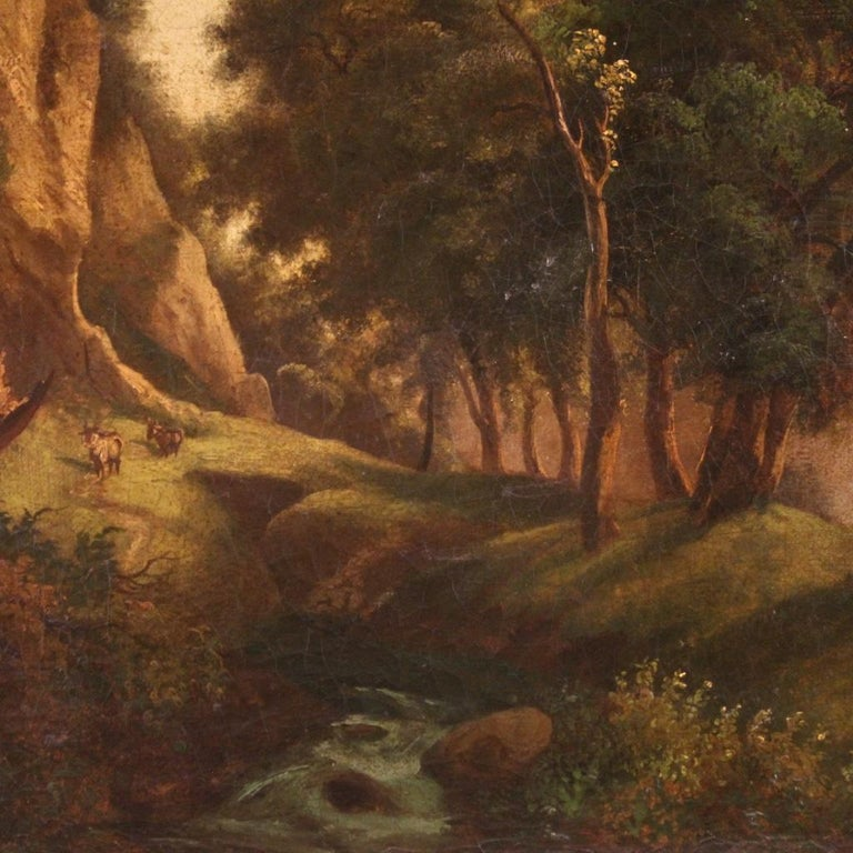19th Century Oil on Canvas Italian Painting Landscape with Characters, 1870 For Sale 2