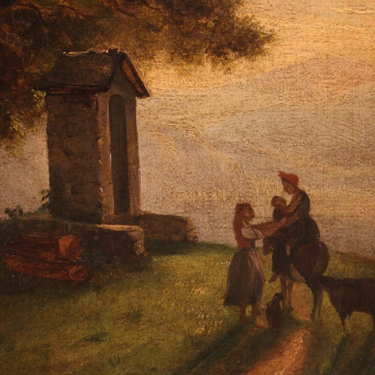 19th Century Oil on Canvas Italian Painting Landscape with Characters, 1870 For Sale 5