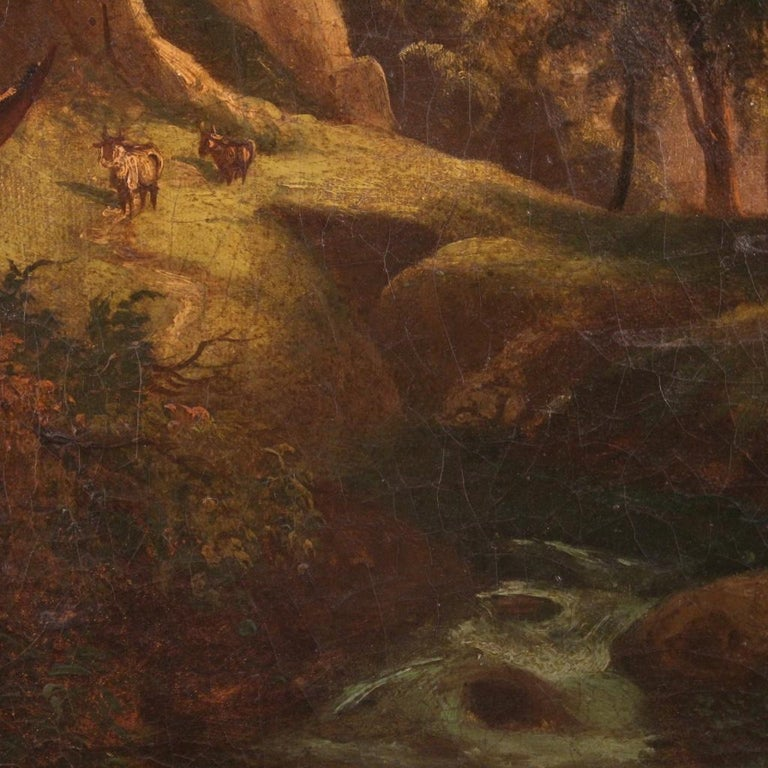 19th Century Oil on Canvas Italian Painting Landscape with Characters, 1870 For Sale 6