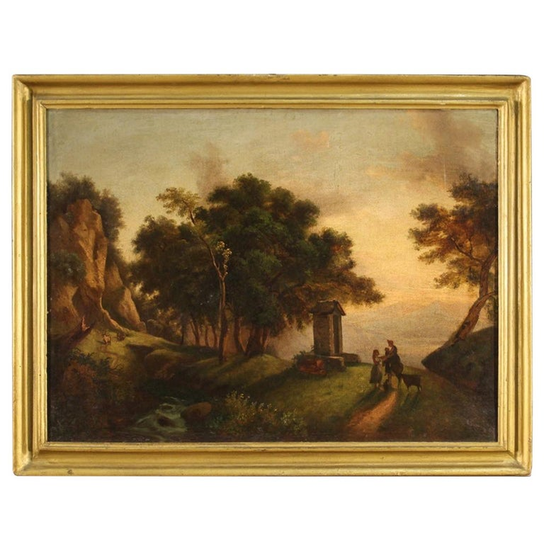 19th Century Oil on Canvas Italian Painting Landscape with Characters, 1870 For Sale