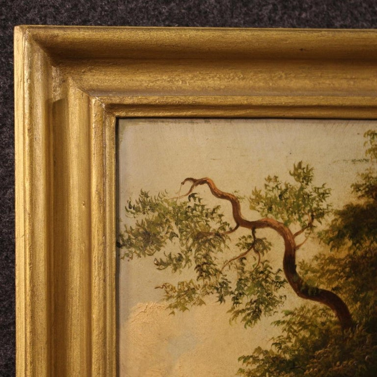 19th Century Oil on Canvas Italian Painting Landscape with Characters, 1880 For Sale 6