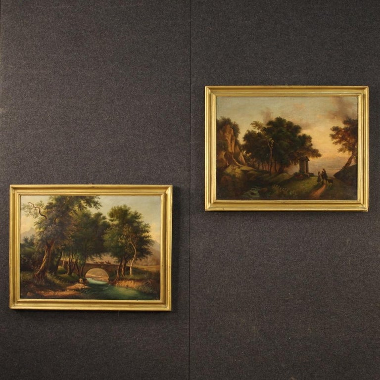 Italian painting from the late 19th century. Oil painting on canvas, first canvas, depicting landscape with characters and horses, of romantic style. Golden wooden frame, adapted to the painting, with some small signs. Nice size painting and nice