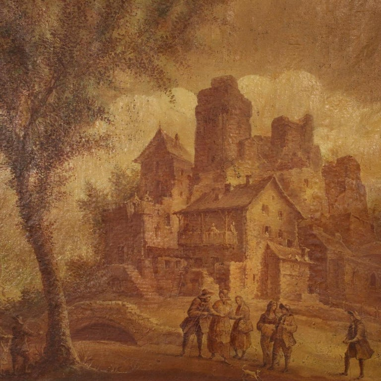 Antique Italian painting from 19th century. Oil painting on canvas depicting landscape with characters in 18th century style. Framework of great size and impact that has undergone several interventions of conservative restoration and color recovery