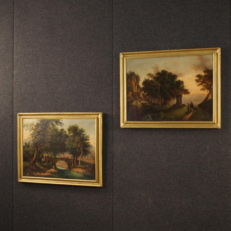 Gilt 19th Century Oil on Canvas Italian Painting Landscape with Characters, 1880 For Sale