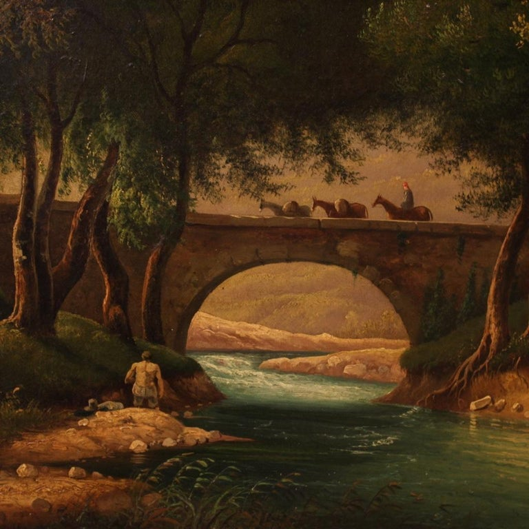 19th Century Oil on Canvas Italian Painting Landscape with Characters, 1880 In Good Condition For Sale In Vicoforte, Piedmont