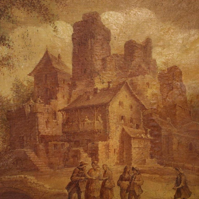 19th Century Oil on Canvas Italian Painting Landscape with Characters, 1880 In Fair Condition For Sale In Vicoforte, Piedmont