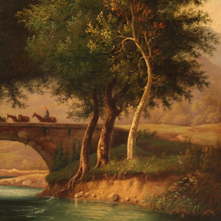 19th Century Oil on Canvas Italian Painting Landscape with Characters, 1880 For Sale 1
