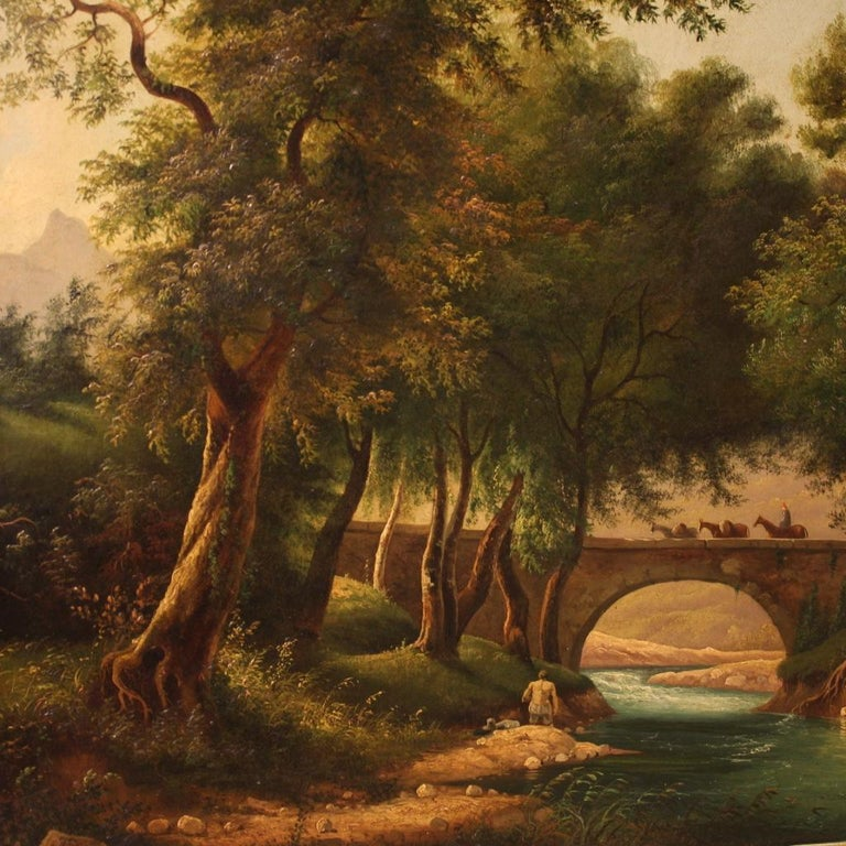 19th Century Oil on Canvas Italian Painting Landscape with Characters, 1880 For Sale 2